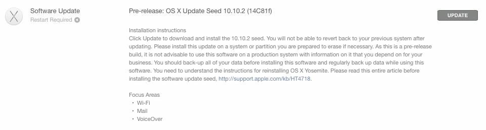 「OS X Yosemite 10.10.2」のベータ版3が開発者向けに提供開始!Wi-Fi、メール、VoiceOverなどの不具合修正