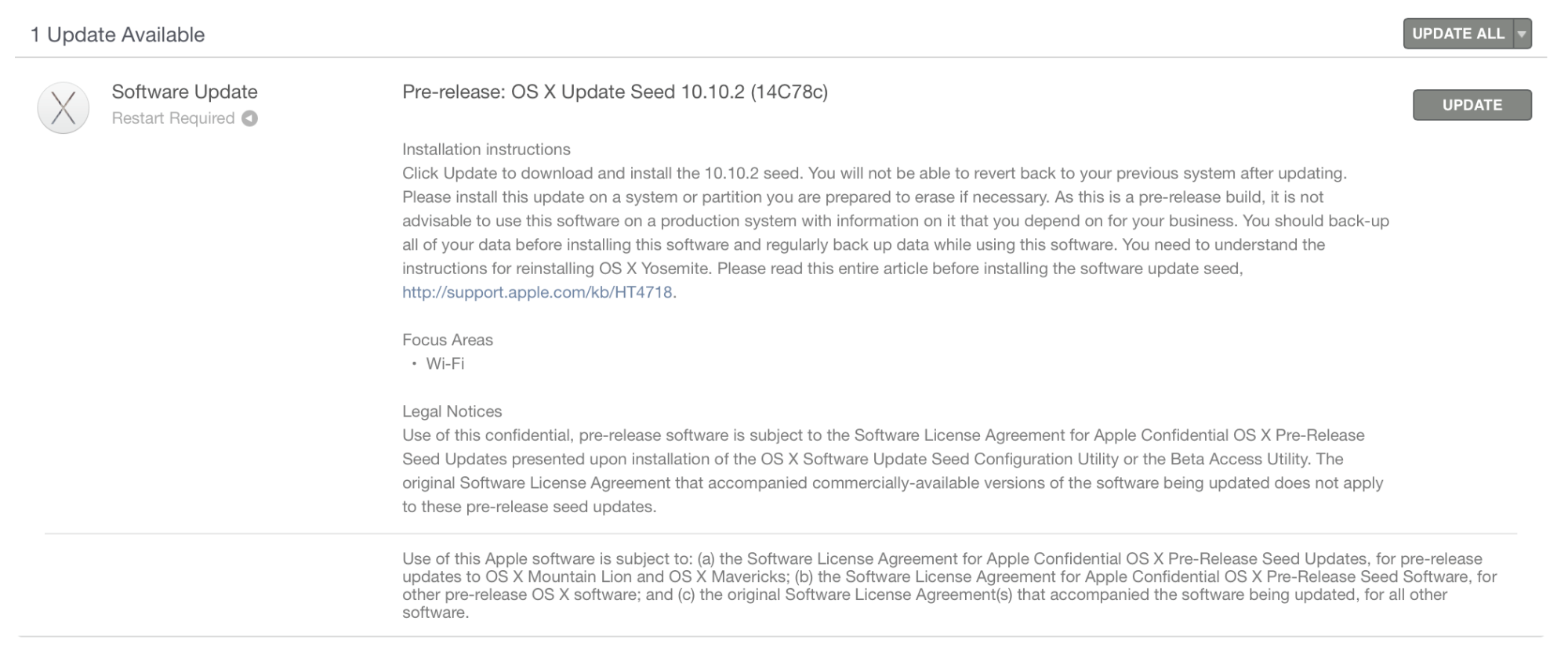 「OS X Yosemite 10.10.2」のベータ版2を開発者向けに提供開始!未だに報告されているWi-Fiの不具合を中心に改善