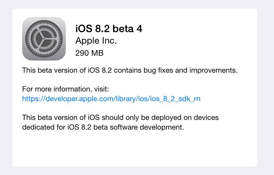 「iOS 8.2 beta 4」が開発者向けに公開!「Apple Watch」とのペアリングに関する項目が追加!