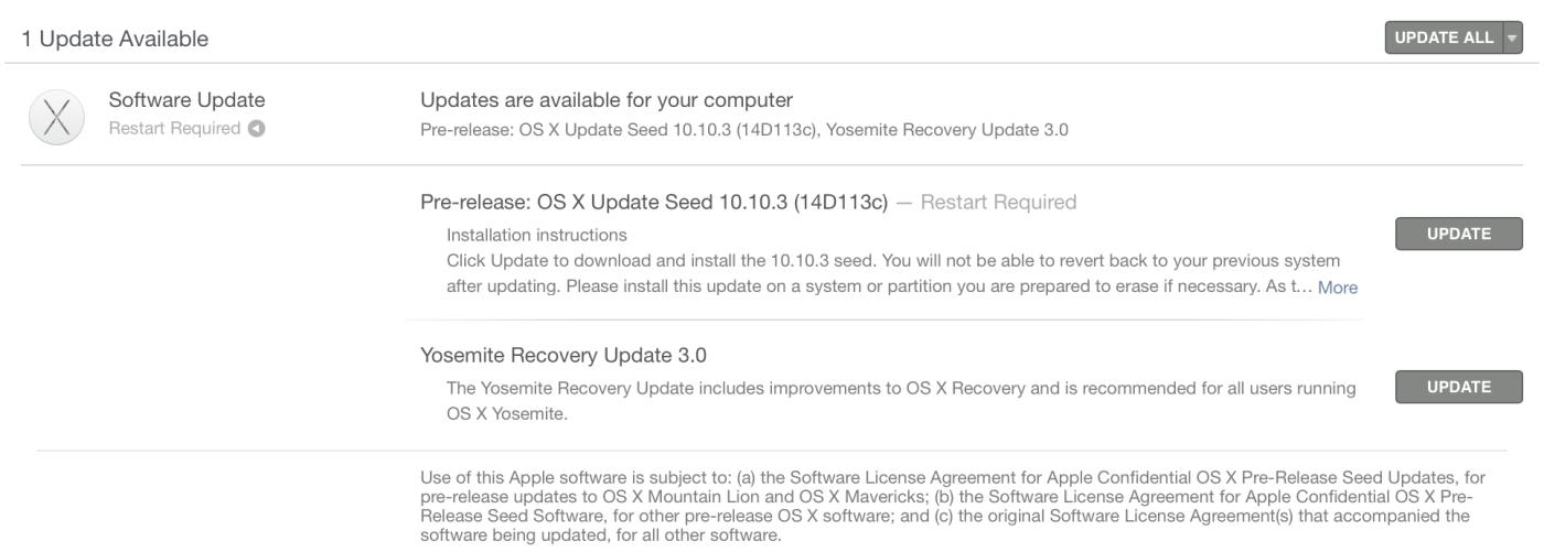「OS X Yosemite 10.10.3」のベータ版5が開発者/テスター向けに配信開始
