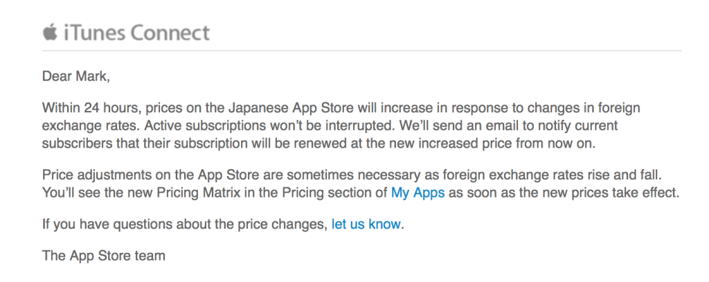App Store Japan increase