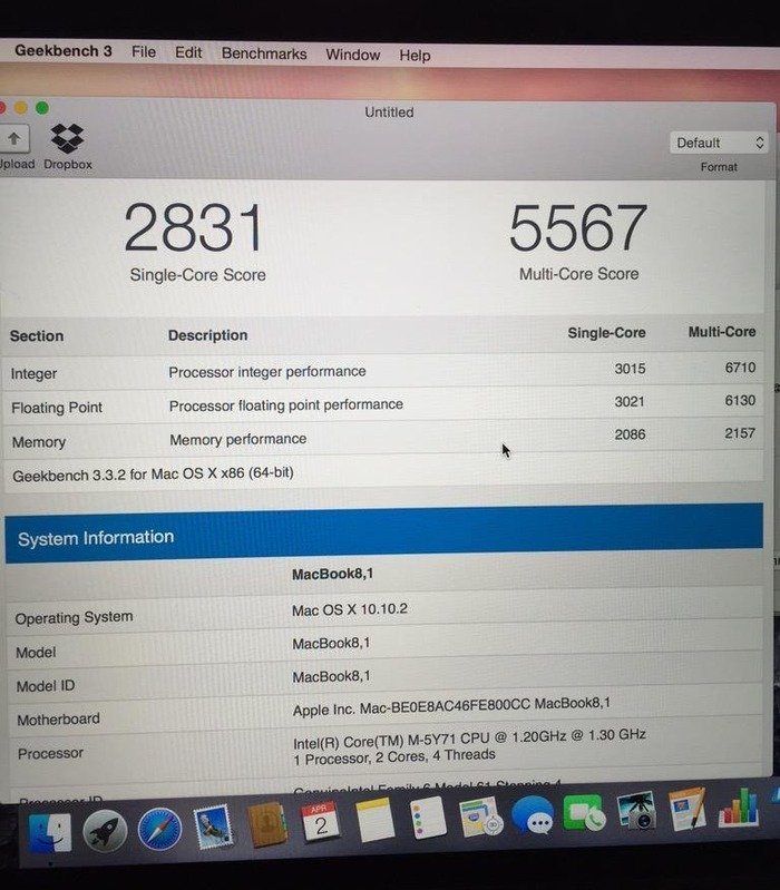 MacBook 12 CTO-GeekBench