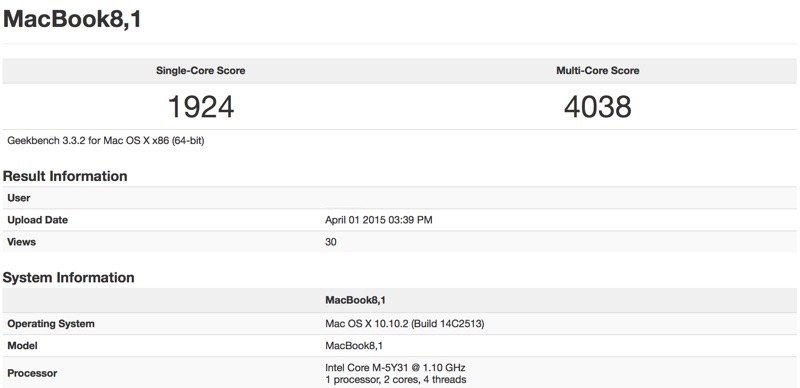 MacBook 12-GeekBench