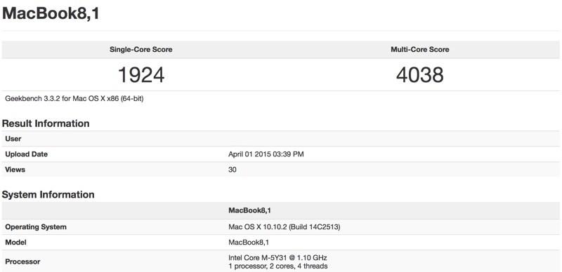 12インチの新型MacBookのGeekBenchのベンチマークが公開!