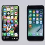 iPhone 8のコンセプトデザインとiPhone 7のサイズを比較した画像が公開
